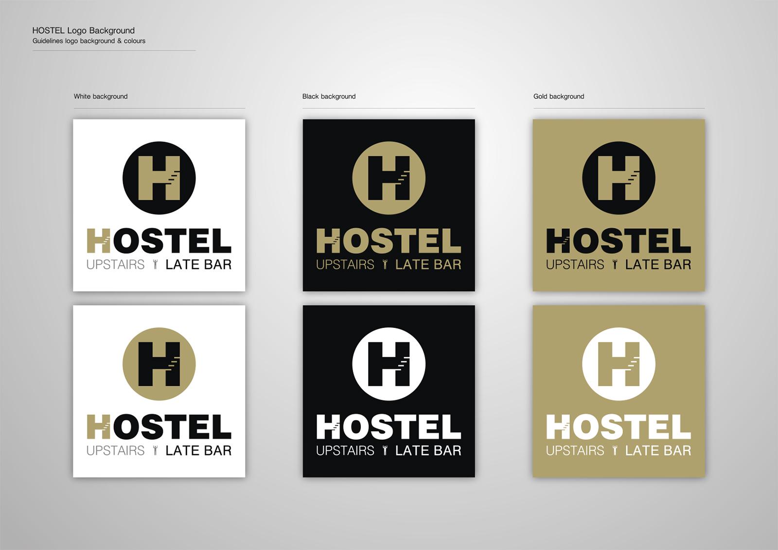 Corporate Identity Hostel_Upstairs_Late Bar_Logo Backgrounds_Yianart