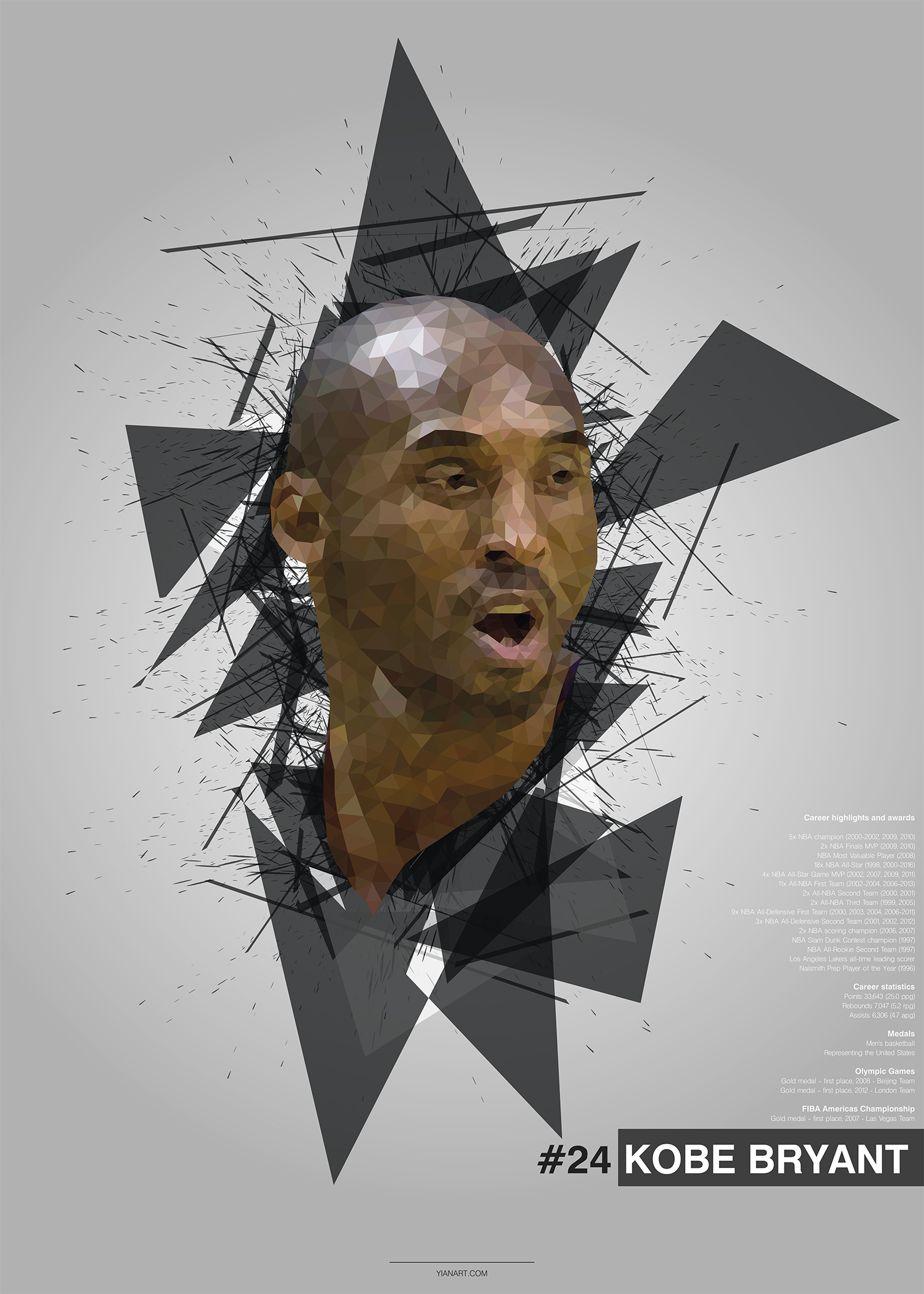 Kobe Bryant - Top Athletes Low Poly Design_yianart.com