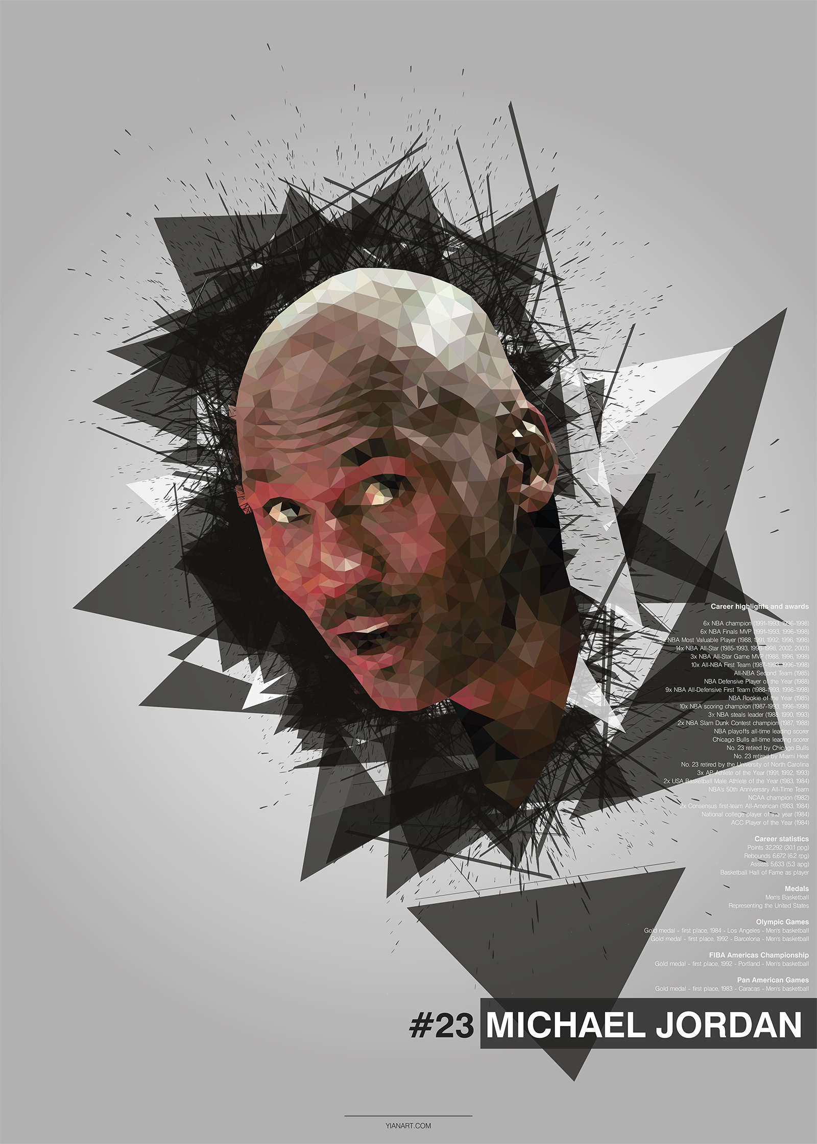 Michael Jordan - Top Athletes Low Poly Design_yianart.com