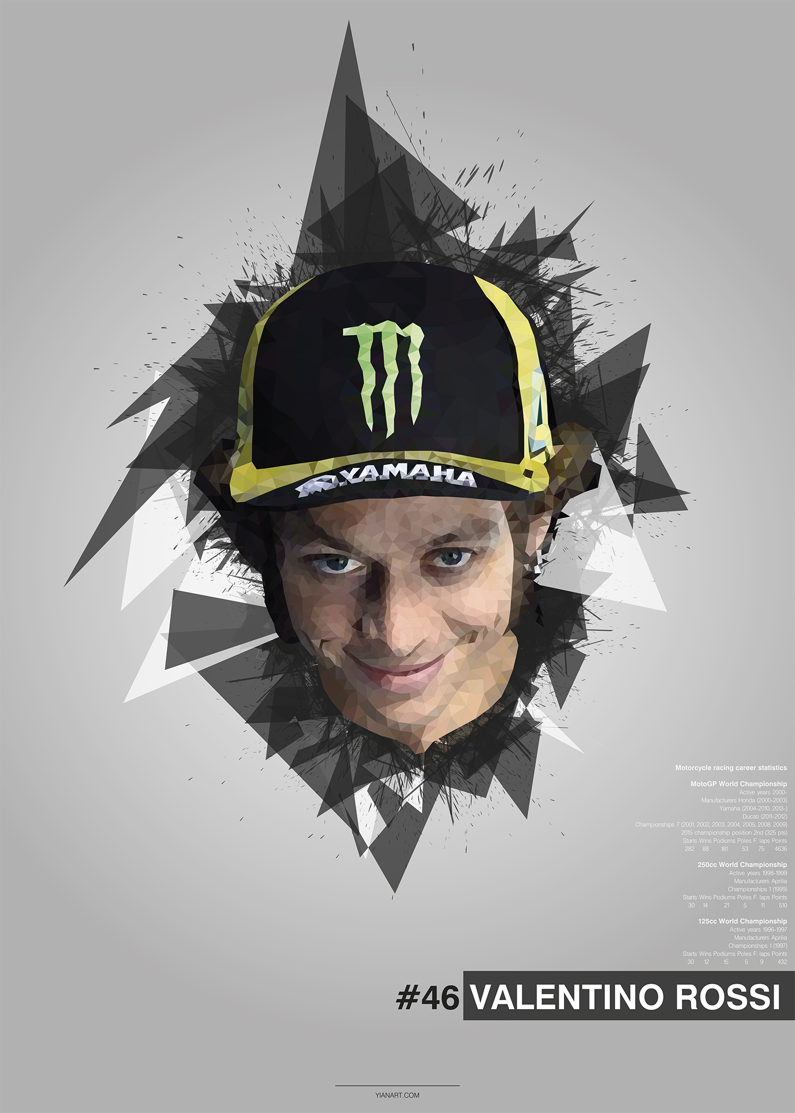 Valentino Rossi - Top Athletes Low Poly Design_yianart.com