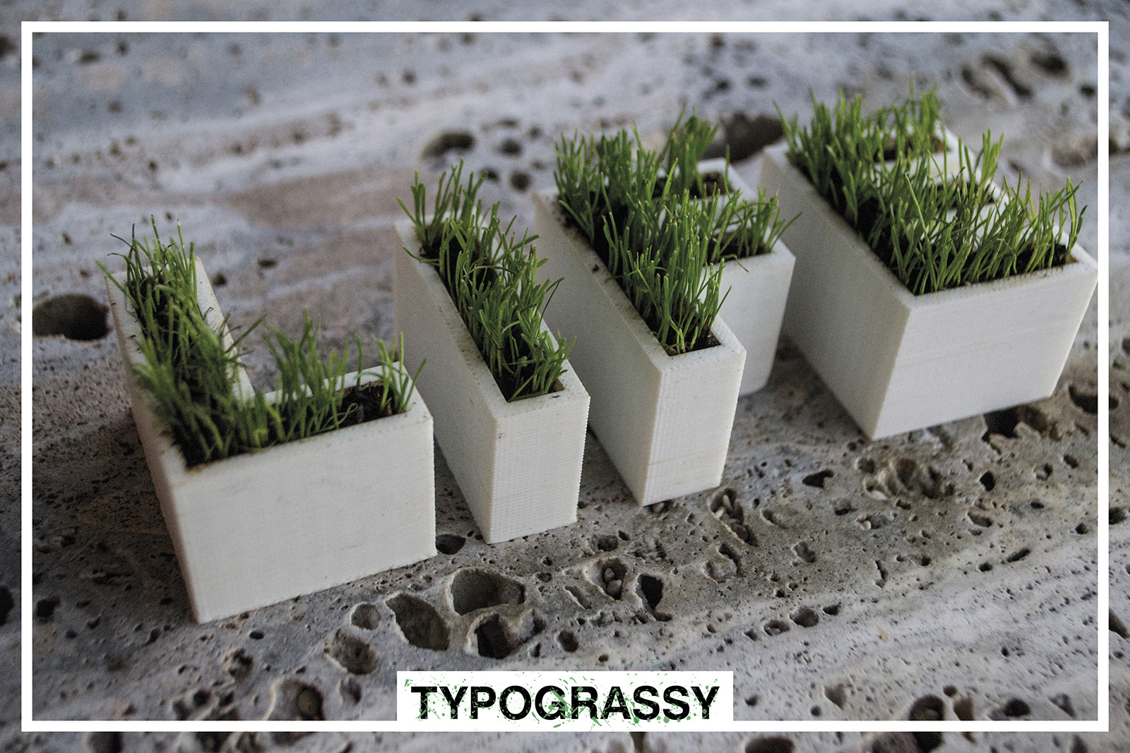 3D Printed letters and symbols with grass_Typograssy_3d product_yianart.com