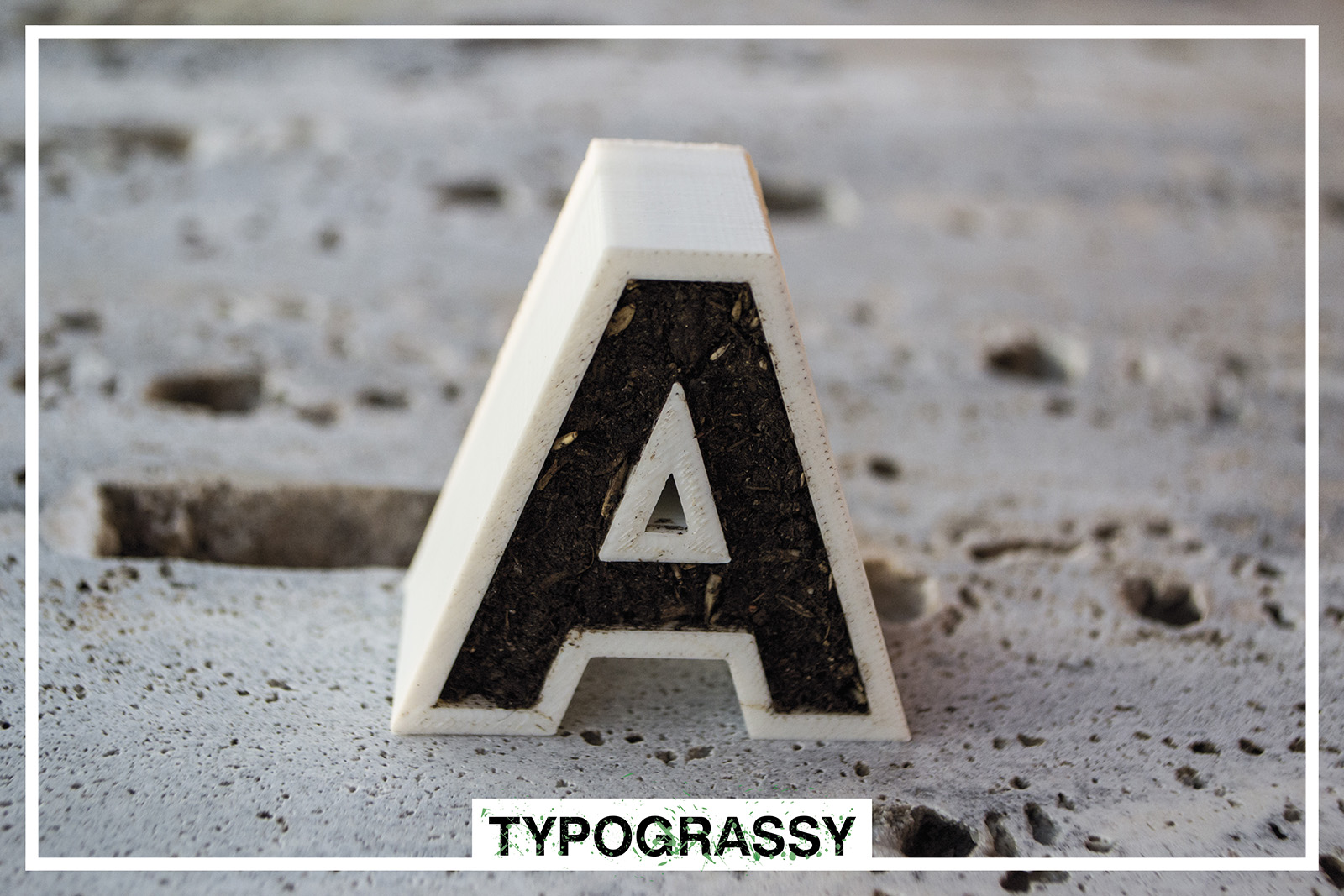 3D Printed letters and symbols with soil_Typograssy_3d product_yianart.com