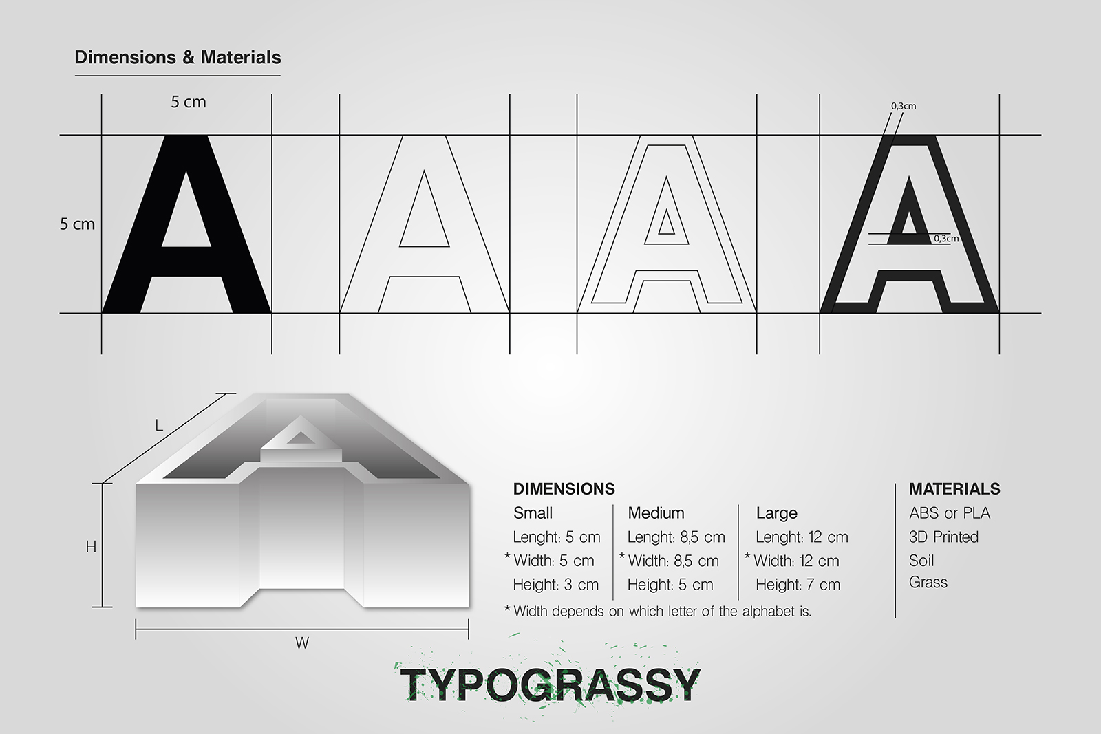 3D Printed letters and symbols_dimensions_Typograssy_yianart.com